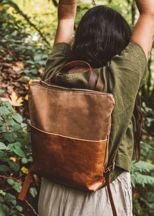 Strathcona Backpack | Leather & Canvas Tan