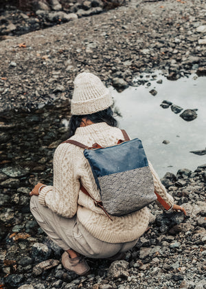 Strathcona Backpack | Waves Print & Canvas Grey
