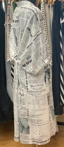 MA Dainty Newspaper Print Dress