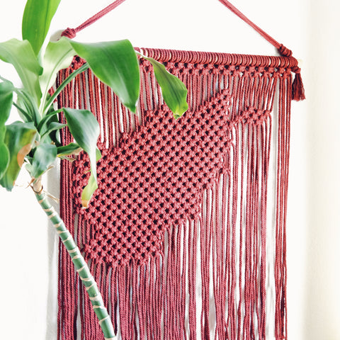 side view of macrame map