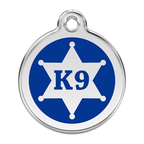 Red Dingo K9 Sheriff Enamel Stainless Steel Dog ID Tag