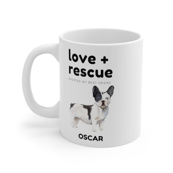 love + rescue Mug — French Bulldog (left side view)