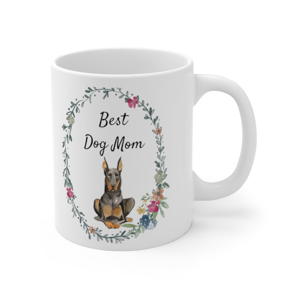 Best Dog Mom Mug — Doberman (right side view)