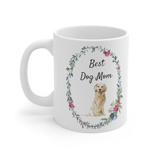 Best Dog Mom Mug — Golden Retriever (left side view)