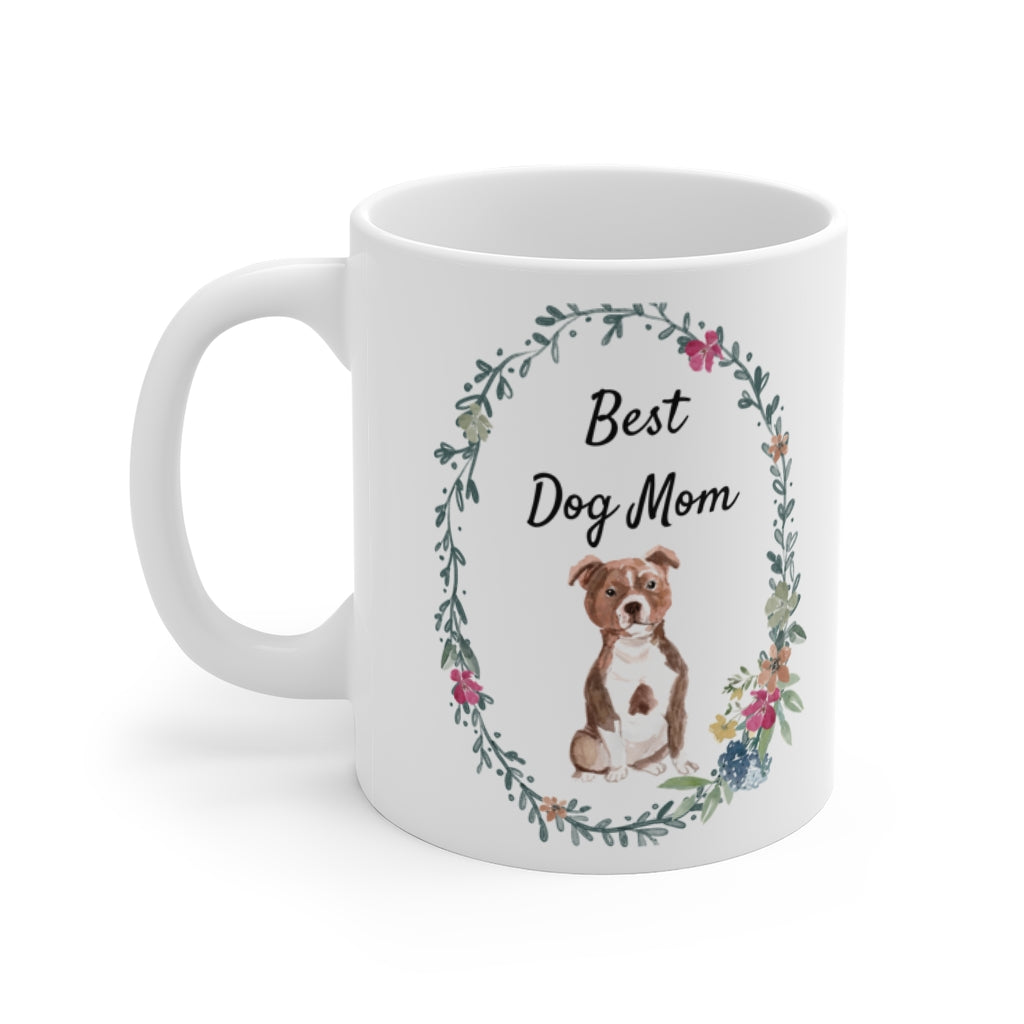 Best Dog Mom Mug — Staffie (left side view)