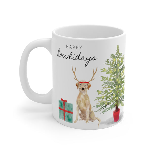 Happy Howlidays Mug — Yellow Lab (left side view)