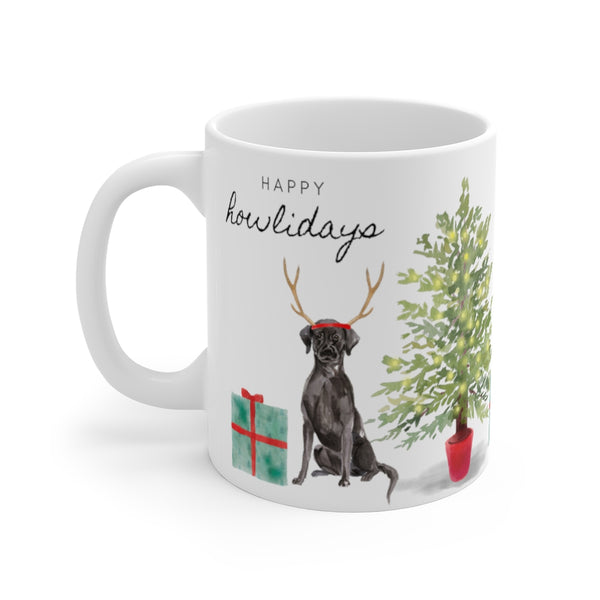 Happy Howlidays Mug — Black Lab (left side view)
