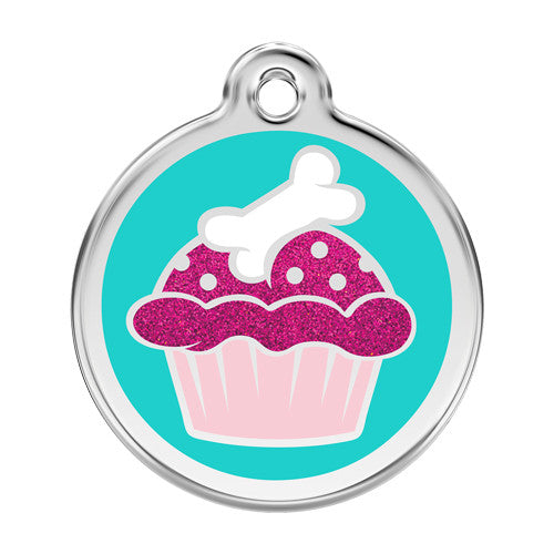 Red Dingo Glitter Cupcake Stainless Steel Dog ID Tag Large
