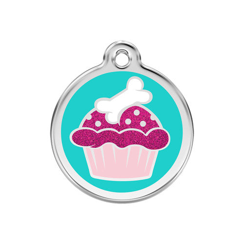 Red Dingo Glitter Cupcake Stainless Steel Dog ID Tag Medium