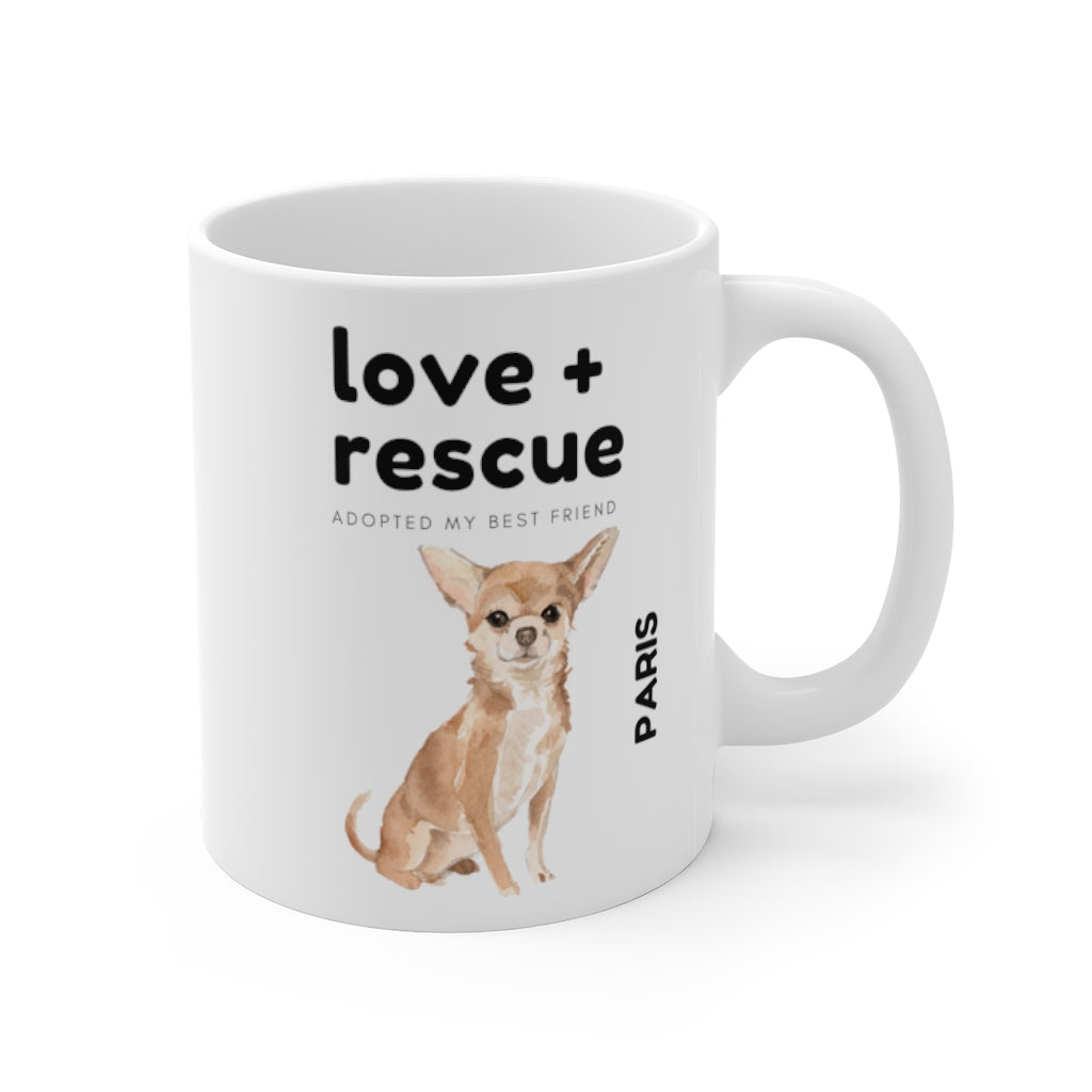 love + rescue Mug — Chihuahua (right side view)