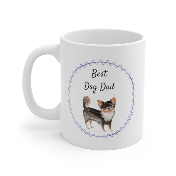 Best Dog Dad Mug — Long Haired Chihuahua (left side view)