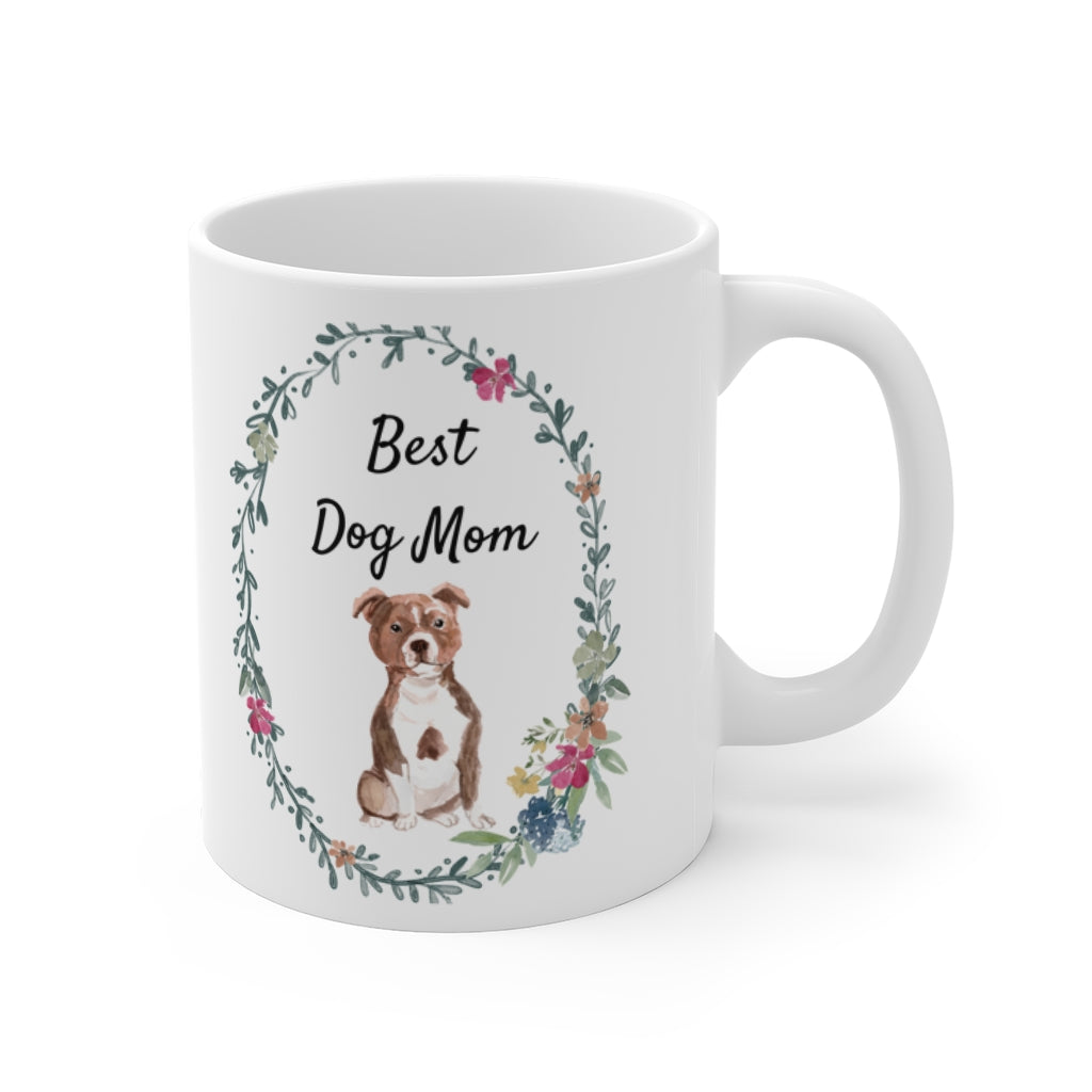 Best Dog Mom Mug — Staffie (right side view)