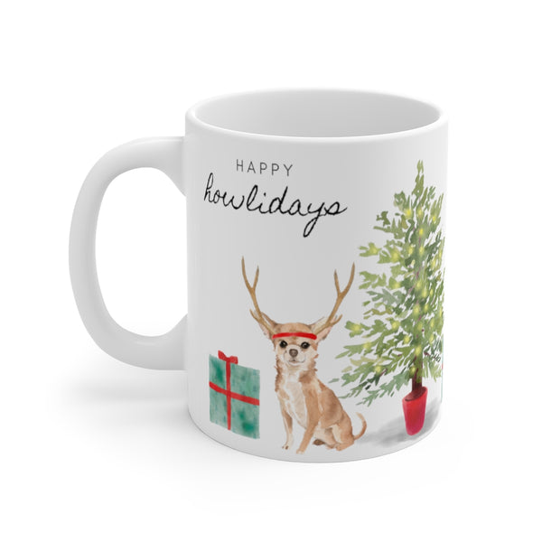 Happy Howlidays Mug — Chihuahua (left side view)