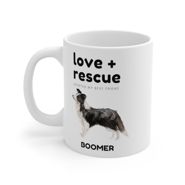 love + rescue Mug — Border Collie (left side view)