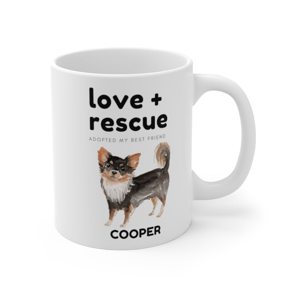 love + rescue Mug — Long Haired Chihuahua (right side view)