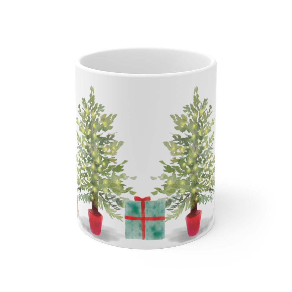 Happy Howlidays Mug — Pug (front side view)