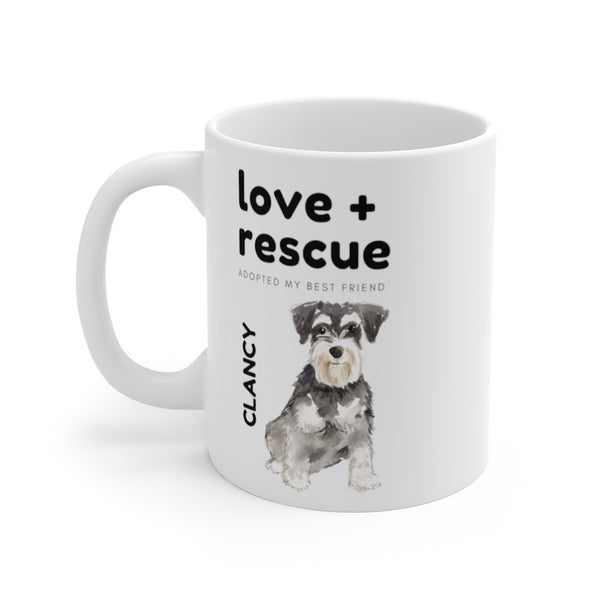 love + rescue Mug — Miniature Schnuazer (left side view)