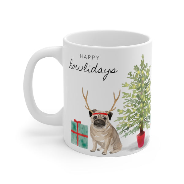 Happy Howlidays Mug — Pug (left side view)