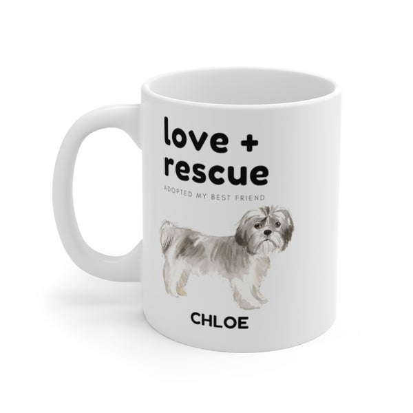 love + rescue Mug — Shih Tzu (left side view)