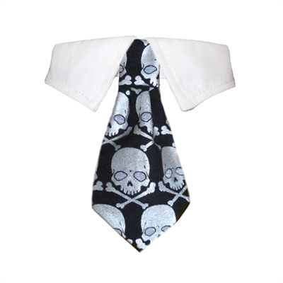 Pooch Outfitters Crossbones Shirt Collar with Halloween Dog Tie