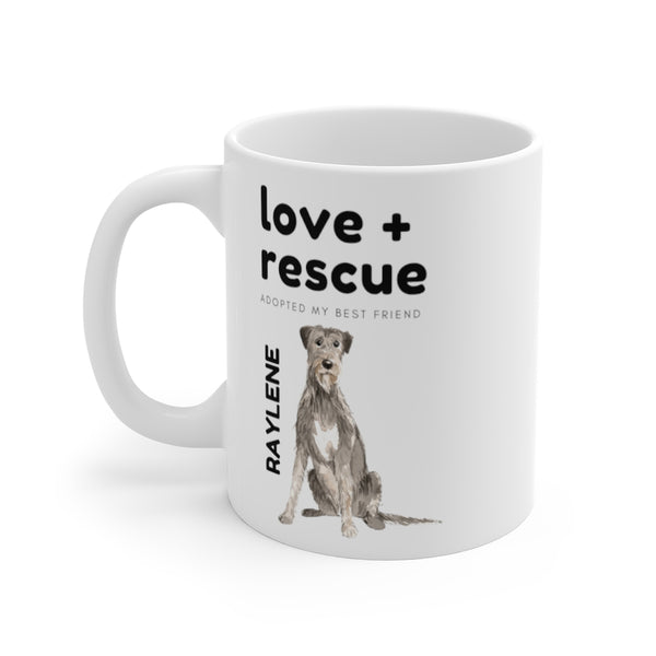 love + rescue Mug — Irish Wolfhound (left side view)