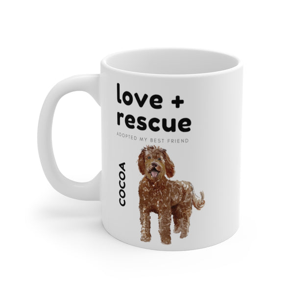 love + rescue Mug — Chocolate Labradoodle (left side view)