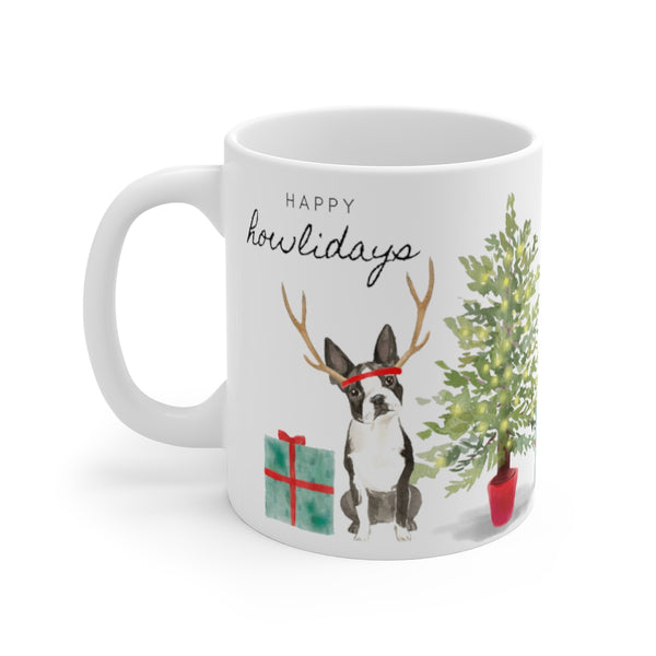 Happy Howlidays Mug — Boston Terrier (left side view)