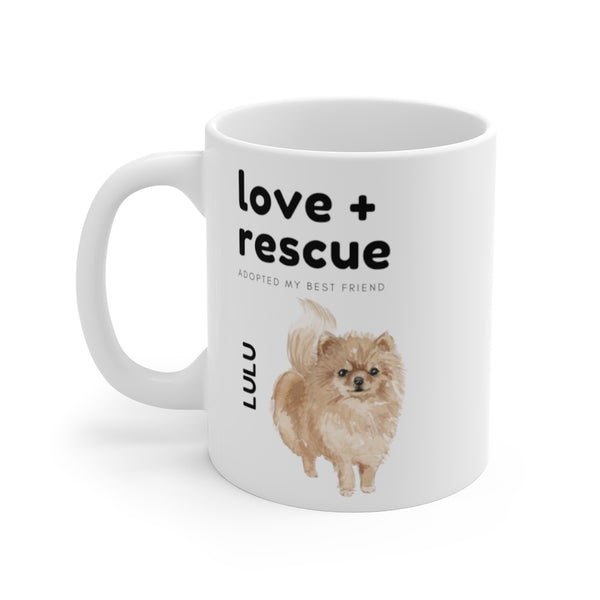 love + rescue Mug — Pomeranian (left side view)