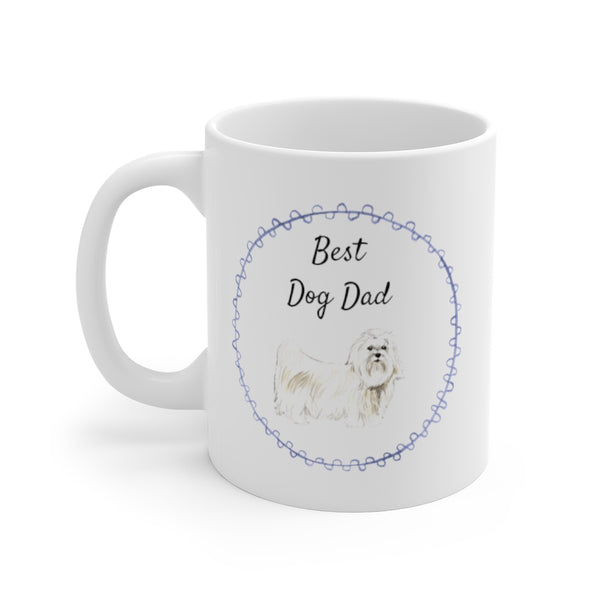 Best Dog Dad Mug — Maltese (left side view)