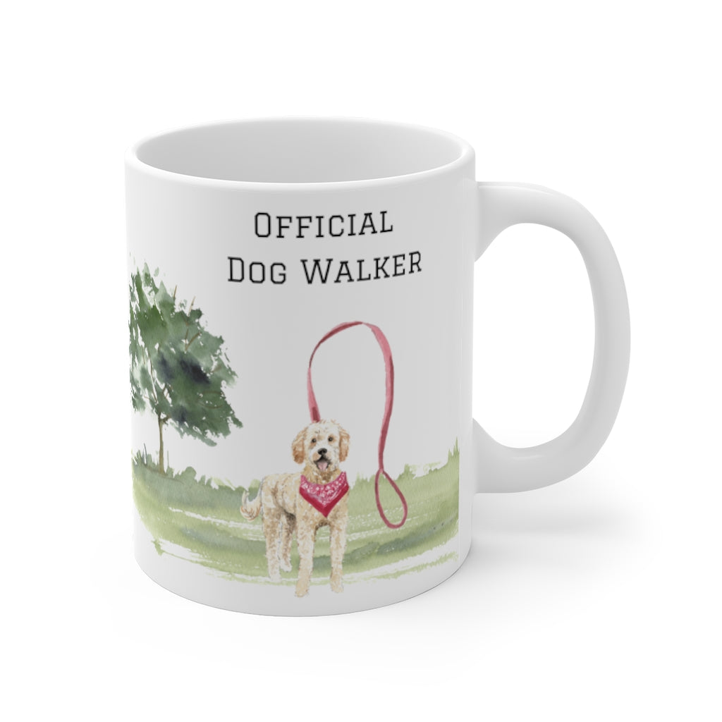 Official Dog Walker Mug — Blonde Labradoodle (right side view)