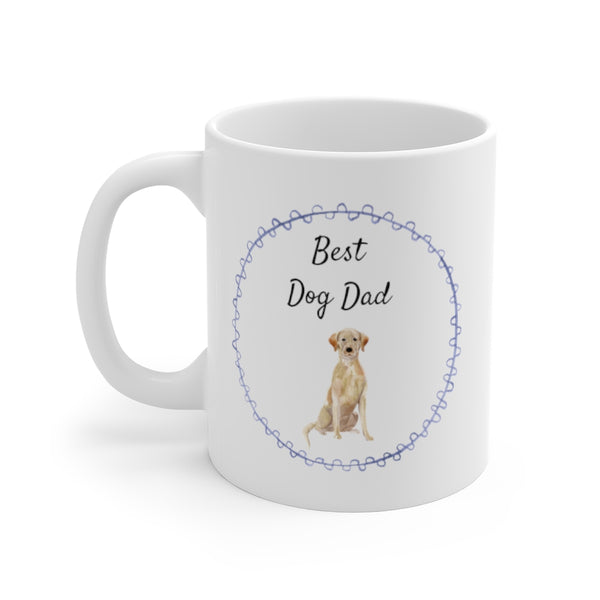 Best Dog Dad Mug — Yellow Lab (left side view)