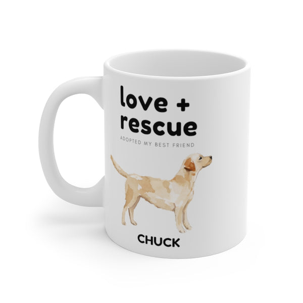love + rescue Mug — Labrador Retriever (left side view)