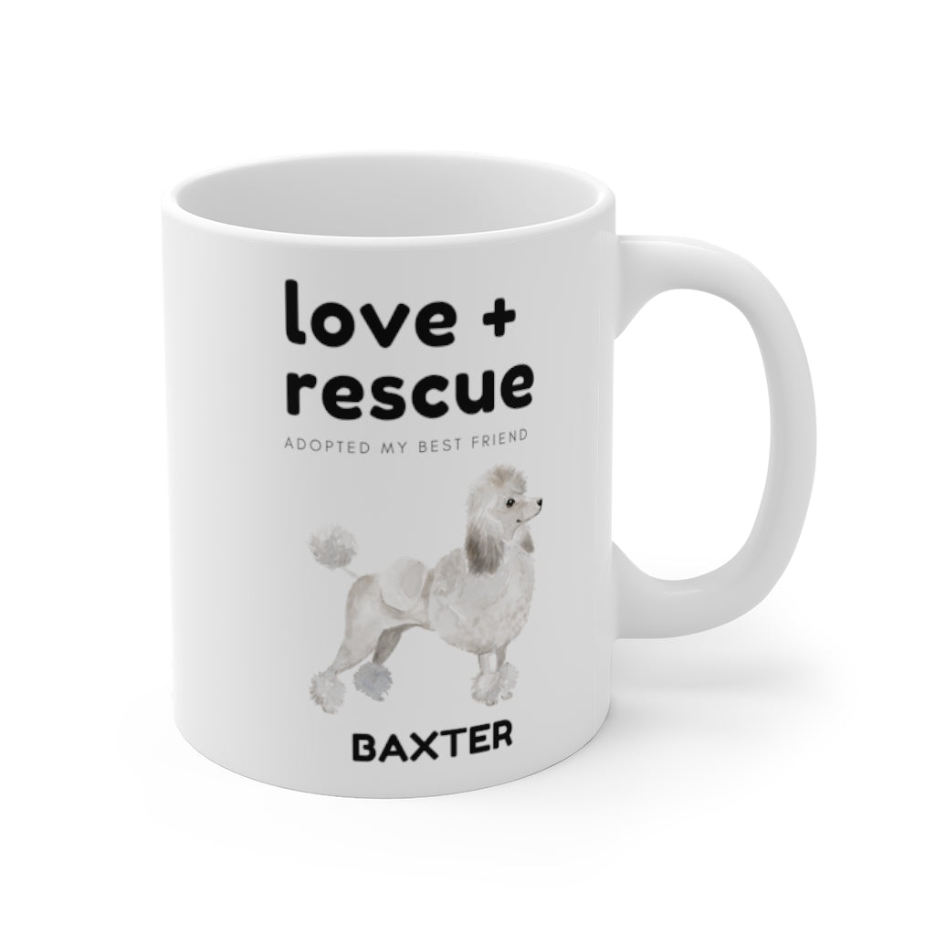 love + rescue Mug — White Poodle (right side view)