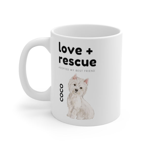love + rescue Mug — Westie (left side view)
