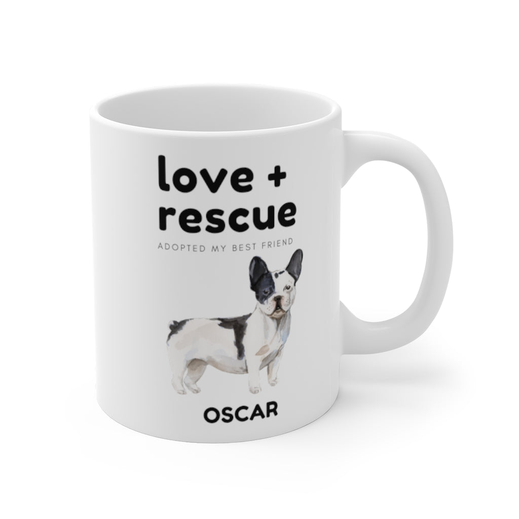 love + rescue Mug — French Bulldog (right side view)