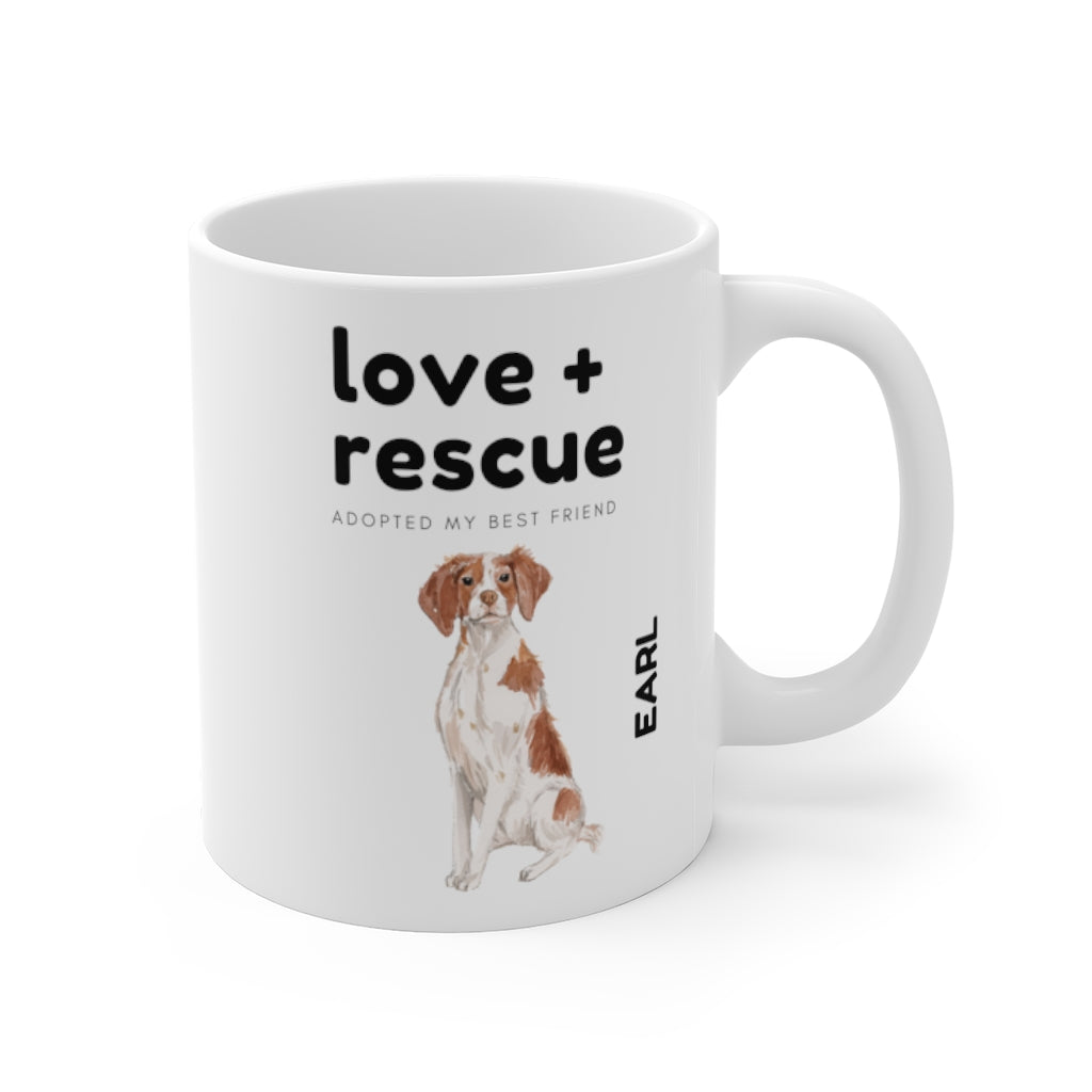 love + rescue Mug — Brittany (right side view)