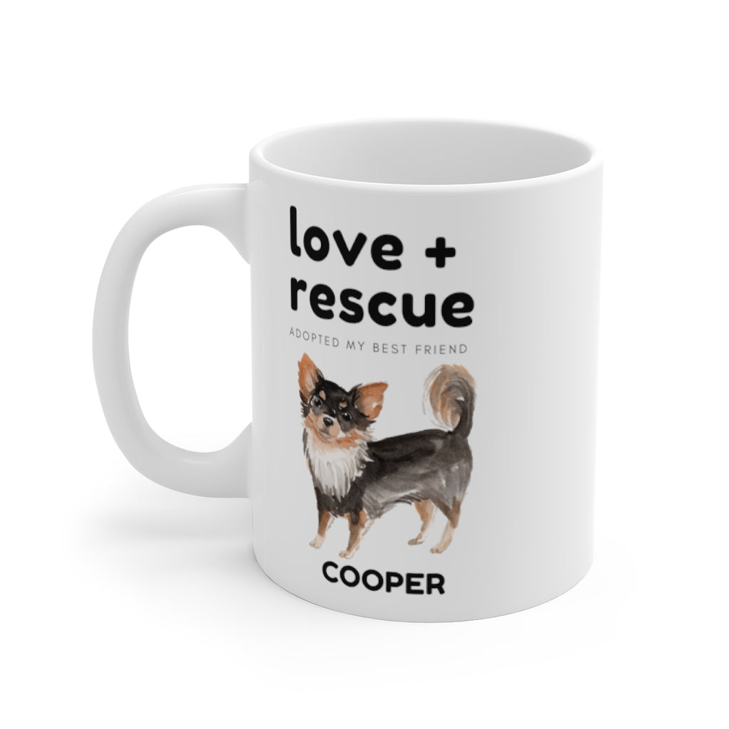 love + rescue Mug — Long Haired Chihuahua (left side view)