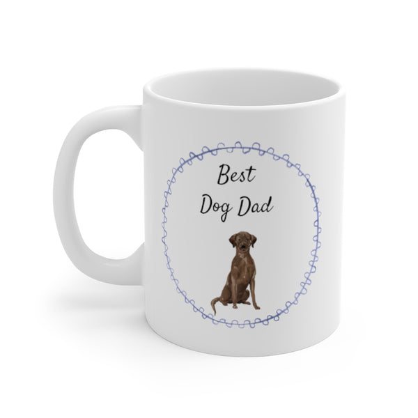 Best Dog Dad Mug — Chocolate Lab (left side view)