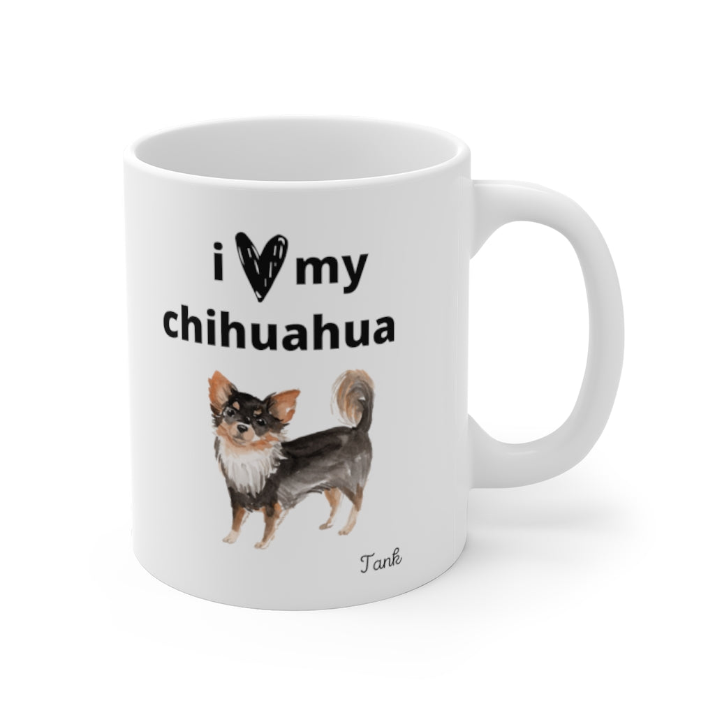 i love my chihuahua Mug — Long Haired Chihuahua (right side view)