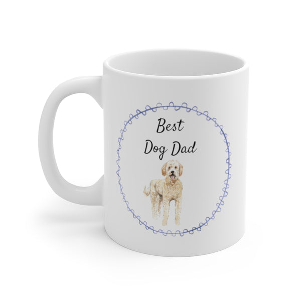 Best Dog Dad Mug — Labradoodle (left side view)