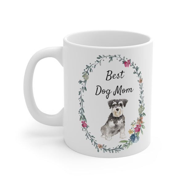 Best Dog Mom Mug — Mini Schnauzer (left side view)