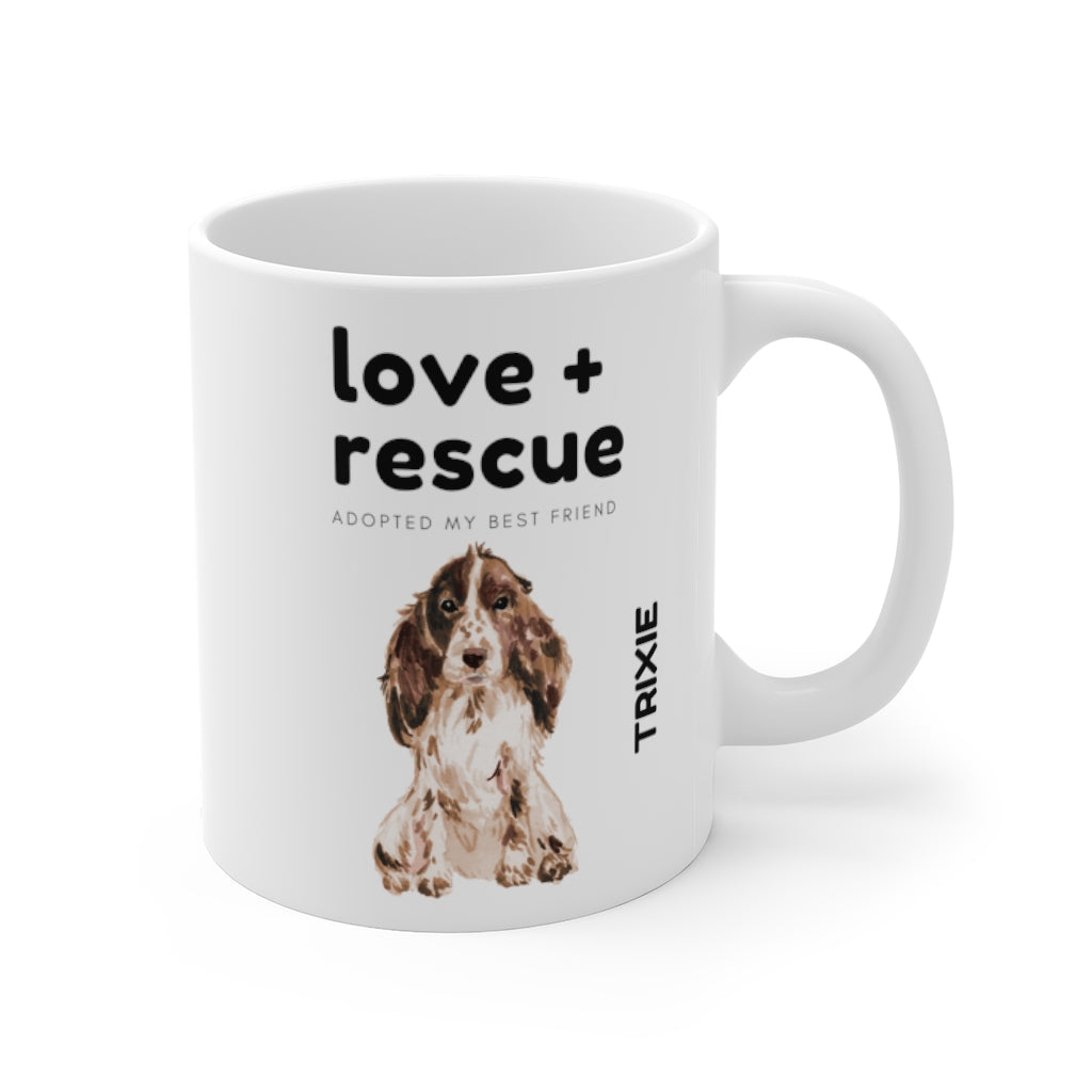 love + rescue Mug — Cocker Spaniel (right side view)
