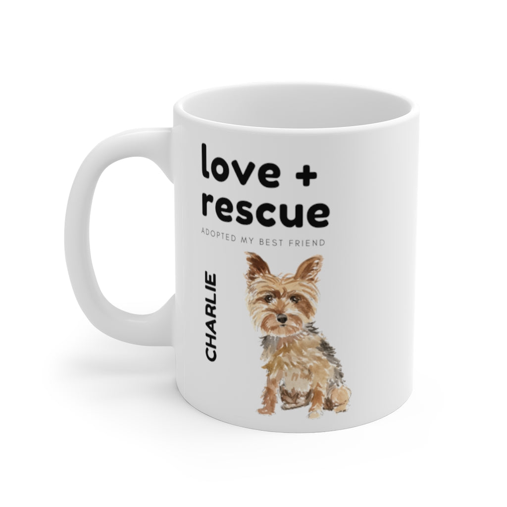 love + rescue Mug — Yorkie (left side view)