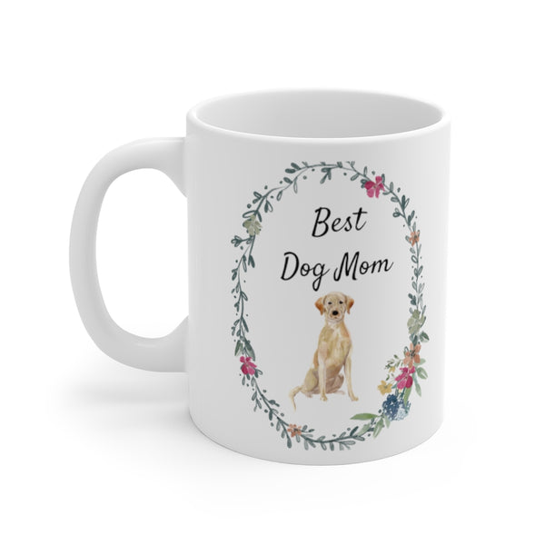 Best Dog Mom Mug — Yellow Lab (left side view)