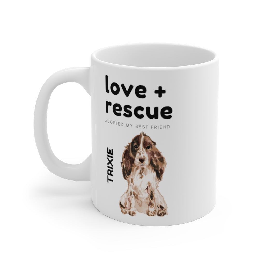 love + rescue Mug — Cocker Spaniel (left side view)