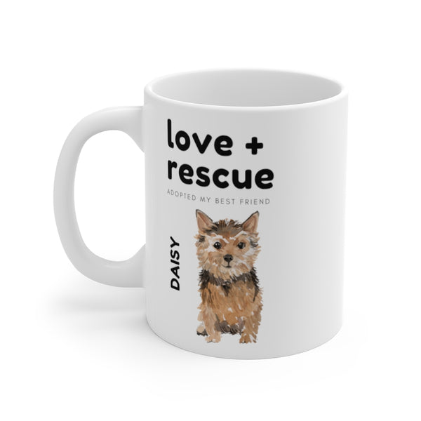 love + rescue Mug — Norfolk Terrier (left side view)