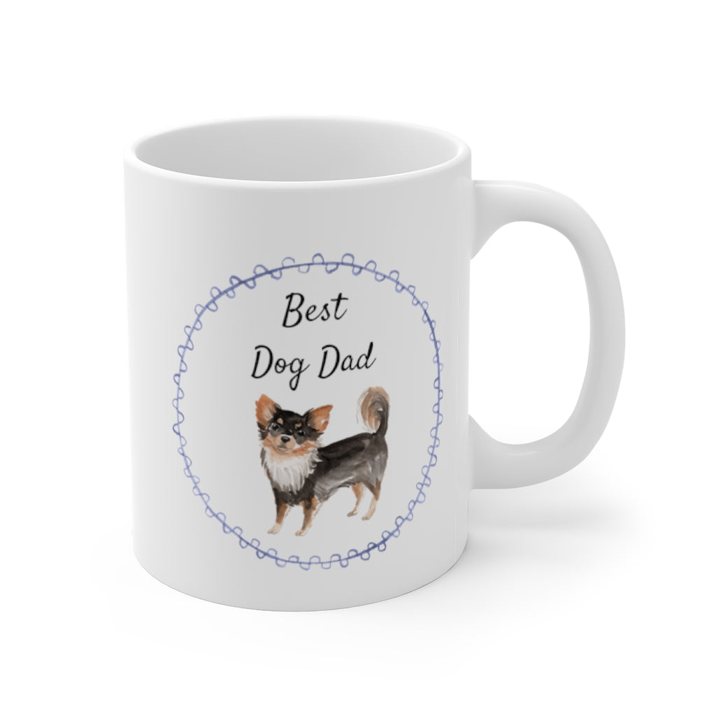 Best Dog Dad Mug — Long Haired Chihuahua (right side view)
