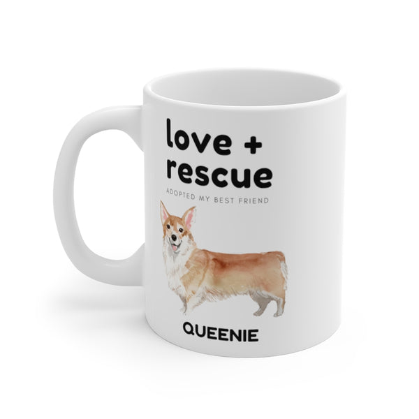 love + rescue Mug — Corgi (left side view)
