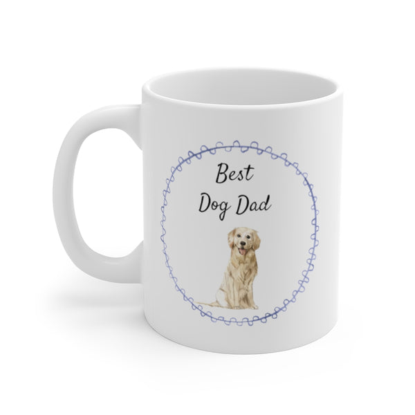 Best Dog Dad Mug — Golden Retriever (left side view)