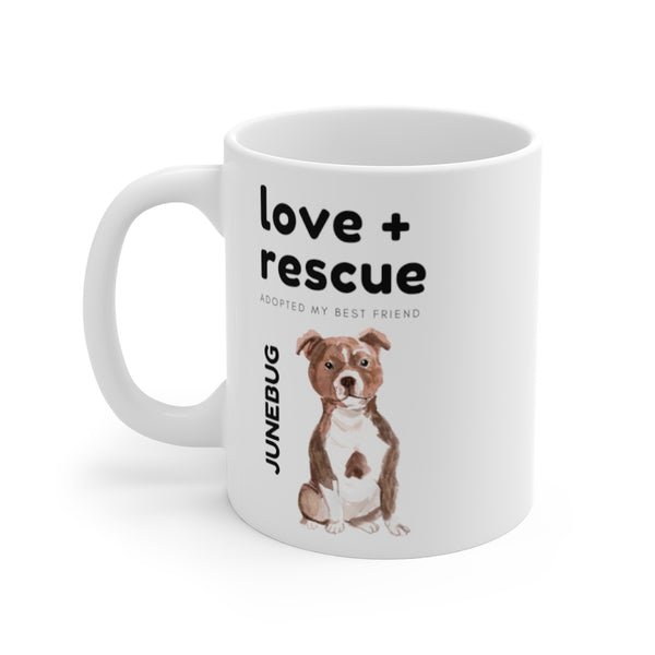 love + rescue Mug — American Staffordshire Terrier (left side view)